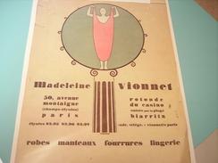 ANCIENNE PUBLICITE Vetement Madeleine Vionnet 1925 - Habits & Linge D'époque