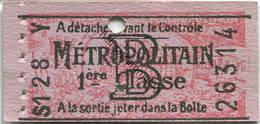 Frankreich - Metropolitain - 1ere Classe - Billet Fahrkarte - Treni