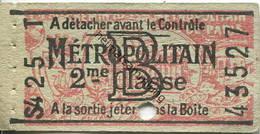 Frankreich - Metropolitain - 2me Classe - Billet Fahrkarte - Treni
