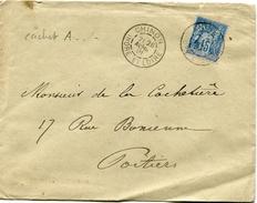 INDRE ET LOIRE De CHINON Cachet A2 Sur SAGE N°90 Sur Env. De 1891 - Postmark Collection (Covers)