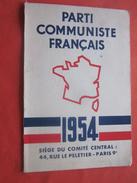 1954 CARTE ADHÉRENT DU PARTI COMMUNISTE FRANÇAIS Des BDR 13 +VIGNETTES COTISATION (1an)10 Fr X 10--Document Historique - Historische Dokumente