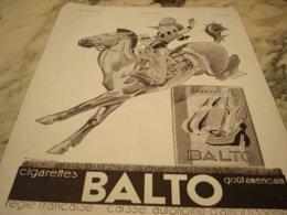 ANCIENNE PUBLICITE CIGARETTES BALTO 1933 - Objets Publicitaires