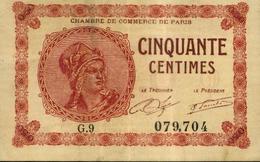FRANCE - Billet De Nécessité - Chambre De Commerce De PARIS - 50 Centimes (1920) - Chambre De Commerce