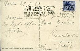 18005 Italia, Circuled Card With Special Postmark Slogan 1959, 3rd. Postal Experimental Link With Helicopter