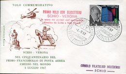 18007 Italia,special Postmark 1967 Schio, First Helicopter Flight From Schio To Verona