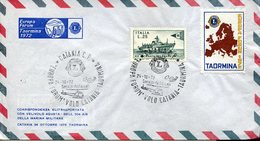 18008 Italia,special Postmark 1972 , Europa Forum  Helicopter Flight Catania / Taormina,  Lions Days