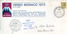 18012 Italia,special Postmark 1972 ,rimini Helicopter Flight Rimini/san Marino For The Munchen Olympiade