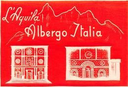 """D5495  """"ALBERGO ITALIA - L' AQUILA""""   ETICHETTA ORIGINALE - ORIGINAL LABEL - Hotel Labels"""