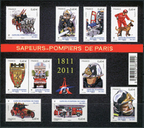 France 2011. Michel #5167/76 MNH/Luxe. Klb. 200 Years Parisian Fire Brigade. (Ts43) - Sapeurs-Pompiers