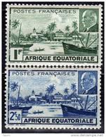 A. E. F.  N° 90 / 91 X  Vue De Libreville Et Maréchal Pétain, Les 2 Valeurs Trace De Charnière Sinon TB