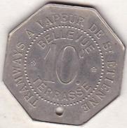 Jeton De Saint-Etienne - Tramways à Vapeur - Bellevue Terrasse - 10 Centimes . Elie 244.1 - Monétaires / De Nécessité