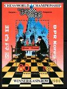 COREE DU NORD. BF Oblitéré De 1986. Karpow-Kasparow. - Schaken