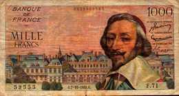 FRANCE 1000 FRANCS RICHELIEU Du 7-10-1954 Pick 134a  F 42/8 - 1 000 F 1953-1957 ''Richelieu''