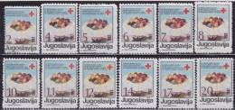 Yugoslavia, 1987, Red Cross, Surcharge (174-185), MNH (**) - 1945-1992 Repubblica Socialista Federale Di Jugoslavia