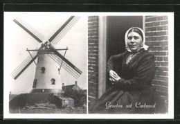 CPA Cadzand, Moulin à Vent Et Alte Frau In Holländischer Tracht - Moulins à Vent