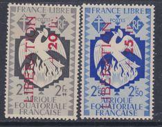 A. E. F. N° 189 / 90  XX  Partie De Série : Les 2 Valeurs Surchargées LIBERATION, Sans Charnière, TB - A.E.F. (1936-1958)