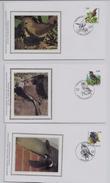 Belgie - Belgique 3264/70 Op FDC Zijde - Soie - 1985-.. Oiseaux (Buzin)