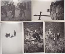 """5 FOTOGRAFIE 6X8-""""GITA CICLO-ALPINISTICA MONTE BRACCO 2-4-1931""""-M. BRACCO M.1306 (CUNEO)TRA VALLE PO E INFERNOTTO - Altri"""