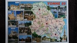 CPM LES DEPARTEMENTS FRANCAIS L YONNE DEPARTEMENT CONTOUR GEOGRAPHIQUE ED VALOIRE - Mapas