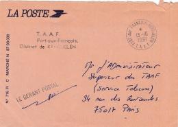 T.A.A.F.  Lettre En Franchise Postale Griffe Et CaD De Port Aux Français Du 13 10 1991 - Terres Australes Et Antarctiques Françaises (TAAF)