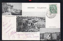 RHODES.SUR CARTE POSTALE TIMBRE 5 CENTIMES CACHET POINTILLE LEVANT TURQUIE D'ASIE RHODES.du 19 DECEMBRE 1911.2 SCANS. - 1858-1921 Empire Ottoman