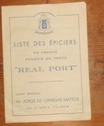 Dépliant D'une Liste D'épiciers En France Fournissant Du Porto Real Port. - Portugal