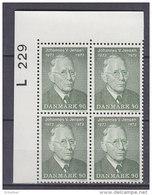 Dänemark, 540, 4erBlock, Postfrisch **, 100. Geburtstag Von Johannes Vilhelm Jensen 1973