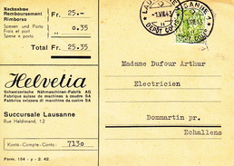 Remboursement HELVETIA Fabrique Suisse De Machines à Coudre SA 1.VII.1943 - Covers & Documents