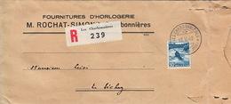 Lettre Recommandée :Les Charbonnières : Lettre De M. Rochat-Simon, Fournitures D'horlogerie. 18.V.49 Vallée De Joux - Switzerland