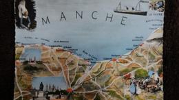 CPSM LA COTE NORMANDE PLAN CONTOUR GEOGRAPHIQUE ED CAP FOLKORE MANCHE - Mapas