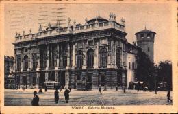 Italia Cartolina Torino Palazzo Madama Tram Filobus Viaggiata 1934 Imperiale 20 Cent.  Albergo Ginevra     SEE SCAN - Non Classificati