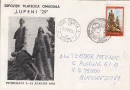 55337- LUPENI MINERS STRIKES MONUMENT, LUPENI PHILATELIC EXHIBTIION, SPECIAL COVER, 1995, ROMANIA - 1948-.... Républiques