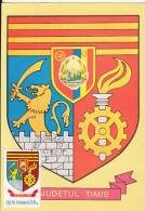 55414- TIMIS COUNTY COAT OF ARMS, MAXIMUM CARD, 1979, ROMANIA