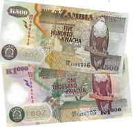 ZAMBIA 500 & 1000 KWACHA 2011 P-43h 44h UNC  [ZM145h 146h] - Zambia