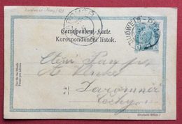 REPUBBLICA CECA  CARTOLINA POSTALE AUSTRIA  5 H CON AMBULANTE BUDWEIS - PRAGA N. 121 IN DATA 21/10/1906 - Repubblica Ceca