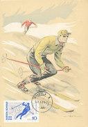 D28894 CARTE MAXIMUM CARD 1961 ROMANIA - SKIING CP ORIGINAL - Skiing