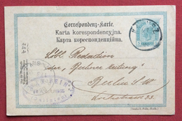 POLONIA  CARTOLINA POSTALE AUSTRIA  5 H   DA KALISZ KALUSZ A BERLIN  IN DATA 27/2/1900 - ....-1919 Provisional Government