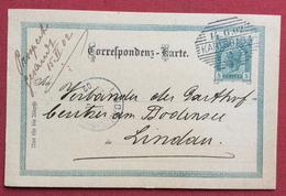 REPUBBLICA CECA  CARTOLINA POSTALE AUSTRIA  5 H CON ANNULLO A BARRE KARLSBAD (KARLOVY VARY) PER LINDAU IN DATA 14/6/1902 - Repubblica Ceca