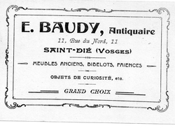 - A2-  Saint Dié 88 - E. Baudy Antiquaire Rue Du Nord - Publicité Curiosité - Saint Die