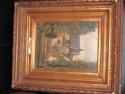 RIXENSART 1886 - MONOGRAMME AA Datée 1886 - Huile Sur Panneau Cadre Bon état. - Huiles