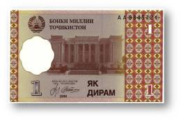 TAJIKISTAN - 1 Diram - 1999 ( 2000 ) - Pick 10 - UNC - Serie  AA - National Bank Of Tajikistan - Tadschikistan