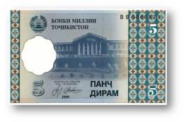 TAJIKISTAN - 5 Diram - 1999 ( 2000 ) - Pick 11 - UNC - Serie  BB - National Bank Of Tajikistan - Tadschikistan