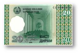 TAJIKISTAN - 20 Diram - 1999 ( 2000 ) - Pick 12 - UNC - Serie  CD - National Bank Of Tajikistan - Tajikistan