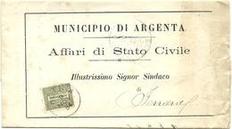 REGNO STORIA POSTALE BUSTA MUNICIPIO DI ARGENTA - Storia Postale