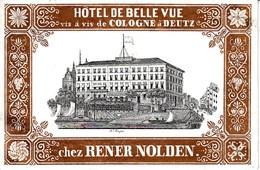 Gepäckkleber Oder Kofferkleber Hotel De Belle Vue, Vis à Vis De Cologne à Deutz, Chez Rener Nolden.  (keine Postkarte) - Koeln