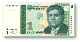 TAJIKISTAN - 1 Somoni - 1999 ( 2010 ) - Pick 14A - Globe GREEN - UNC - Serie  AN - National Bank Of Tajikistan - Tajikistan