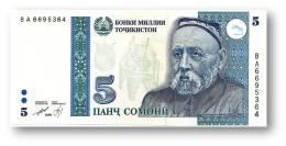 TAJIKISTAN - 5 Somoni - 1999 ( 2000 ) - Pick 15.a - UNC - Serie  BA - National Bank Of Tajikistan - Tayikistán