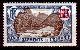 French Oceania, Fataoua Valley, Overprint 65c/1f, 1922, MH VF - Unused Stamps