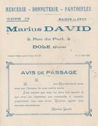 Carte Commerciale / Marius DAVID / Mercerie Bonneterie Pantoufles / DOLE 39 Jura - Cartes