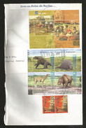 J)2001 ARGENTINA, ARGENTINE CENOZOIC MAMMALS, STAMPS EXHIBITION BRUSSELS AND LOOM,  AIRMAIL CIRCULATED COVER, MULTIPLE S - Argentina